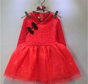 Kd1124 Cheongsam Tutu Dress with Lace Fleece for Kids Girls pictures & photos