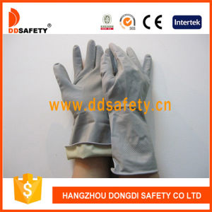 Ddsafety 2017 DIP Flock Lined Diamond Grip Roll Cuff Grey Latex Household Work Glove pictures & photos