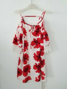 Elegant Romantic Summer Chinese Maple Leaf Chinese Restaurant Print Dress