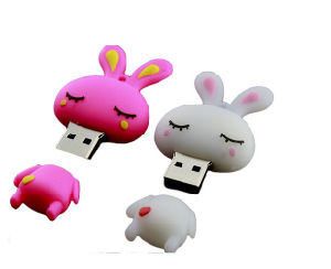 Real Capacity Cartoon Silicone Rabbit 64GB USB Flash Drive USB 2.0 Pendrive USB Stick pictures & photos