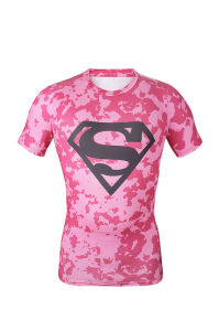 Compression Fitness Gym Bodybuilding Pink Superman Shirt Men Sportswear (AKJSY-2015042) pictures & photos