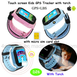 2017 Newest Flashlight Kids/Child GPS Tracker Watch with Pedometer D26 pictures & photos