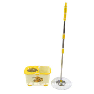 Hand Press Spin Mop with Steel Basket Bucket (SL-S008)