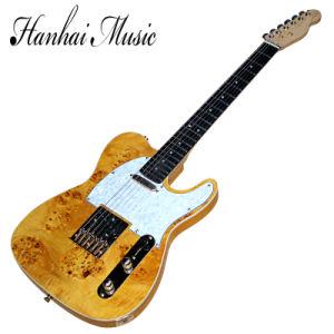 Hanhai Music / Yellow Tele Electric Guitar with and Burl Veneer pictures & photos