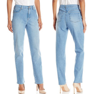 Custom Women High Waist Straight Legs Blue Denim Jeans pictures & photos