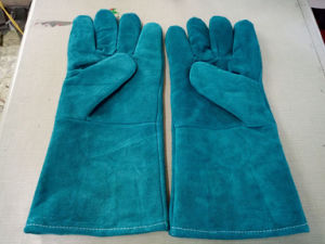 Green Colour Safety Protection Leather Welding Gloves for Export pictures & photos