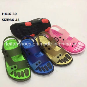 Lady and Men Colorful Casual Summer Beach Slipper PVC Slipper Sandal Shoes (HX16-39) pictures & photos