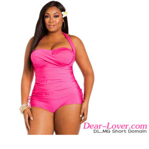 Rosy Tie Ruched Panels Plus Size Swimsuit pictures & photos