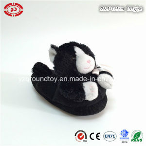 Black Cat with Ribbon Nice Indoor Kids Plush Slipper Shoe pictures & photos