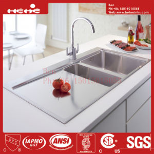 Drain Board Handmade Sink, Stainless Steel Top Mount Double Bowl Handmade Kitchen Sink with Drain Board pictures & photos