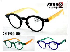 Soft Rubber Finishing Round Frame Reading Glasses with Spring Hinge Kr5090 pictures & photos