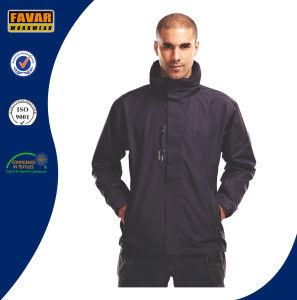 Black Polyester Waterproof Taslon PU Coating Rain Jacket