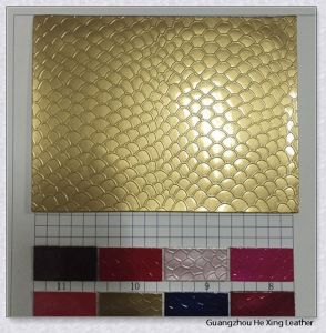 Fashion Pattern Gold Color PU Faux Leather pictures & photos