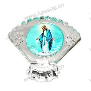 Religious Crystal 3D Laser Engraving Gifts, Catholic Statue with Lamps pictures & photos