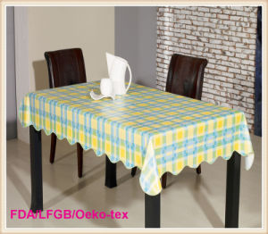 Hot Sales PVC Printed Tablecloth with Flannel Backing (TT0023-B) pictures & photos