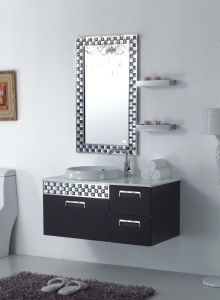 New Fashion Design Black Stainless Steel on Wall Modern Bathroom Mirrored Cabinet (YB-851)