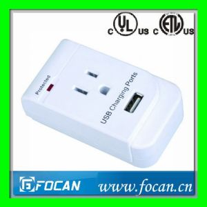 Surge Protected Grounding Adapter with USB Port pictures & photos