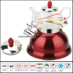 Double Whistle Kettle with Ceramic Teapot Samovar Tea Set pictures & photos