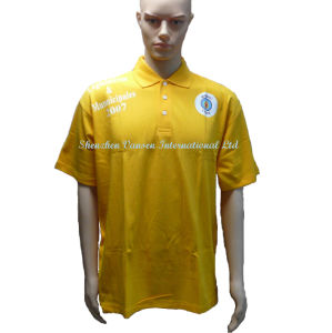100% Polyester Cheap Promotional Yellow Polo Shirt with Logo pictures & photos