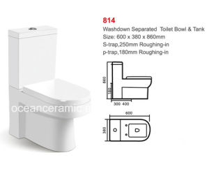 814 Sanitary Ware, Cheap Washdown Two-Piece Toilet pictures & photos