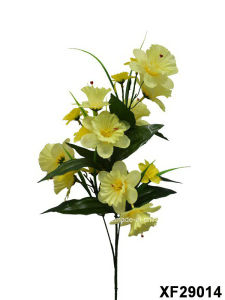 Artificial/Plastic/Silk Flower Single Stem of Daffodil with 5 Branches (XF29014) pictures & photos