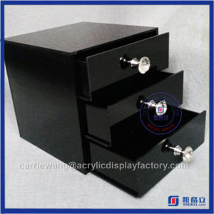China Supplier Hot Sale Black Acrylic 3 Drawers / Acrylic Maup Organizer with Crystal Knobs pictures & photos