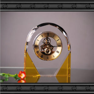 Arch Golden K9 Crystal Glass Clock for Decoration pictures & photos