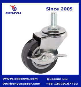 Light Duty Black PU Caster with Side Brake pictures & photos