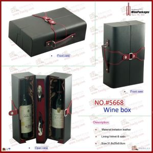 Luxury Handmade PU Leather Gift Wine Packaging Box (5668R1) pictures & photos