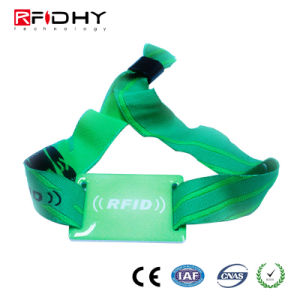 High Levels of Security Eco-Friendly RFID Fabric Wristband for Payment pictures & photos