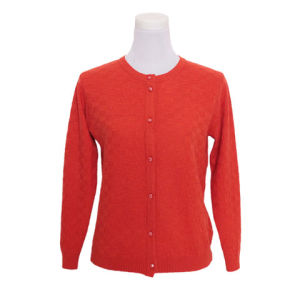 Laydies′ Spring and Autumn Long Sleeve Round Neck Yak/Merino Wool Cardigan pictures & photos