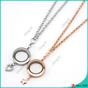 Plain Round Locket with Star Charms Necklace (FL16040832) pictures & photos