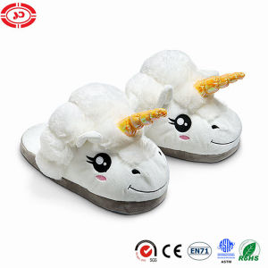 Plush Unicorn White Soft Warm Shoe Girl Slippers pictures & photos