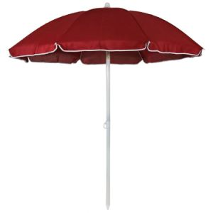 Steel 5 Foot Red Beach Umbrella with Tilt Function
