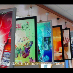 Hanging From Ceiling Display Double Sided Magnetic Frame Ceiling Hanging Light Box pictures & photos
