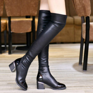 New Knee Boots Pointed MID Heel Overlength PU Leather Boots Fashion Knight Boots pictures & photos