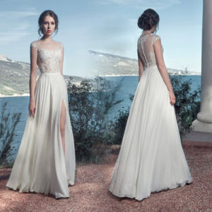 Sleevless Chiffon Wedding Gown 2018 Beach Country Travel Bridal Evening Dresses Lb1448 pictures & photos