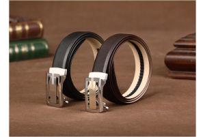 Custom Logo Leather Automatic Buckle Ratchet Men Belt pictures & photos