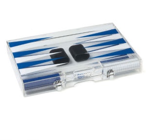 Acrylic Backgammon Set in Dark Blue and White pictures & photos