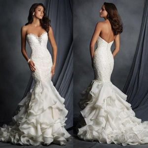 Strapless Lace Bridal Dress Cascading Ruffles Ball Gown Wedding Dress Yao9 pictures & photos