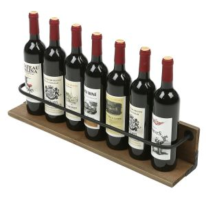 Wall Mounted Wine Bottle Holder Rack Rustic Liquor Display Shelf Brown pictures & photos