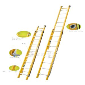 (375LBS) 35kv Yellow 8m Fiberglass Single-Side Grooved Rail Extension Ladder pictures & photos