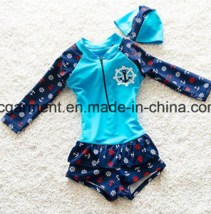 Girl' S Printed Lovely Bikini, Cute Kids Long Sleeve Swimming Suit pictures & photos