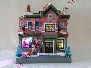 Polyresin House W/ Santa Decorating Tree W/LED Light and Music