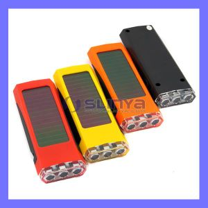 Sunlight Panel Flat 80mAh Battery Portable Torch 3 LED Solar Flashlight pictures & photos