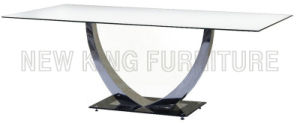 Modern Fashion Temper Glass Top with Stainless Steel Foot Dining Table (NK-DT014) pictures & photos