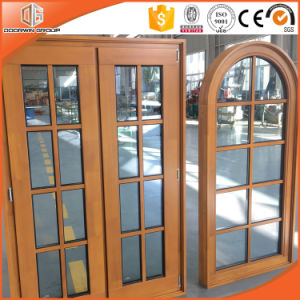 Round-Top Solid Cherry/Pine/Larch/Oak/Teak Wood Casement Window pictures & photos
