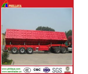 Hard Steel Hydraulic Tipping Cargo Truck Trailer Side Tipper pictures & photos