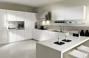 Home Kitchen Furniture White Modern High Gloss PVC Kitchen Cabinet pictures & photos