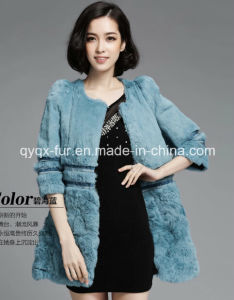 Women′s Winter Warm 100% Rabbit Fur Long Coat Three Quarter Sleeve pictures & photos